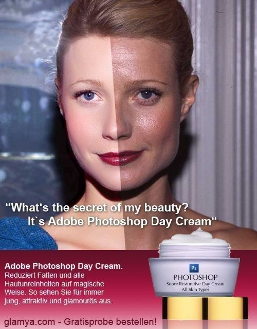 Adobe Photoshop Day Cream (29 Photos) | FunCage: Gwyneth Paltrow, Adobe Photoshop, Funny Stuff, Funnies, Beauty Secret, Engagement Ring, Cream, Gwynethpaltrow