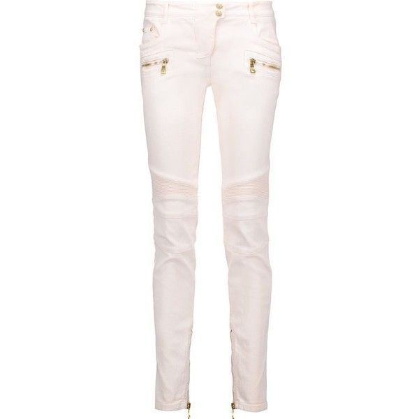 BALMAIN Low-rise skinny jeans ($694) ❤ liked on Polyvore featuring jeans, pink jeans, skinny jeans, balmain jeans, denim skinny jeans and pink skinny jeans