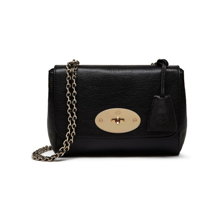Lily in Black Glossy Goat with Soft Gold | Women | Mulberry