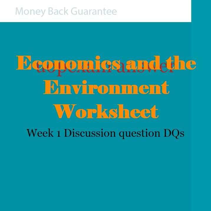 Economics and the Environment Worksheet
