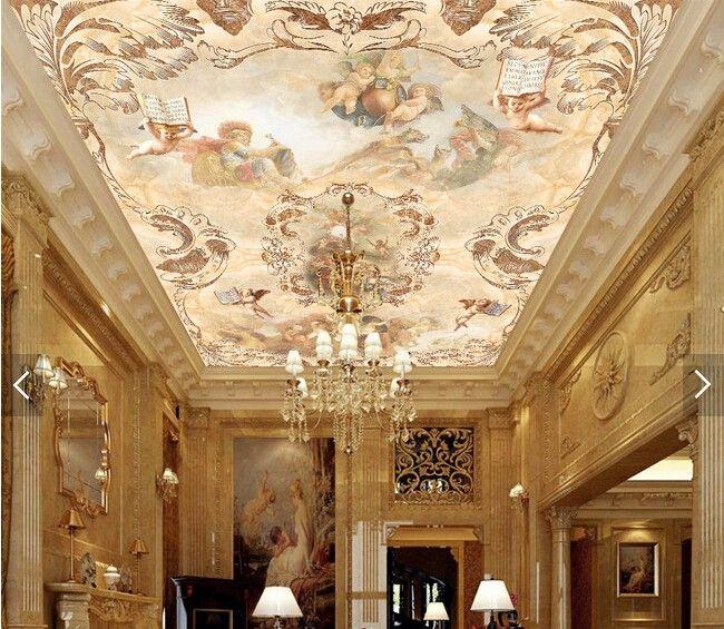 Пользовательские ретро обои, Ангелы рай, Европейский стиль 3D для гостиной спальня ресторан потолок стены водонепроницаемый обоикупить в магазине Maraya wallpaper products Co., LtdнаAliExpress