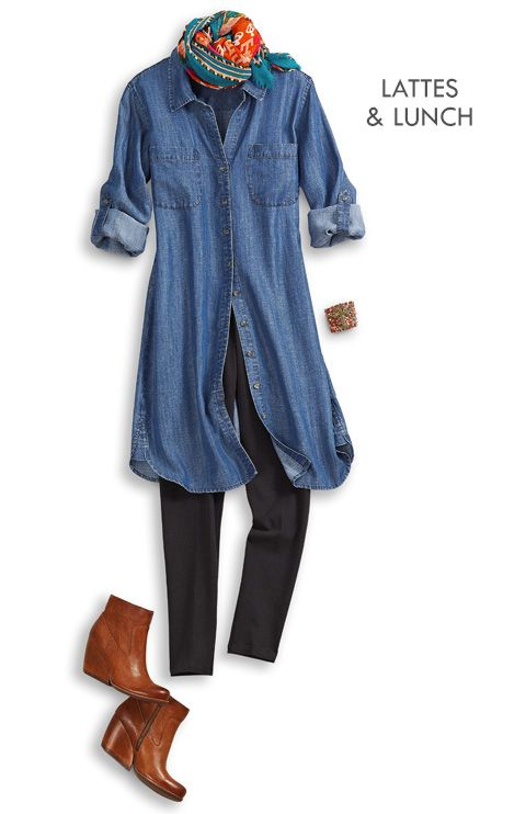 Soft Surroundings ~ Tencel Denim Shirtdress & leggings