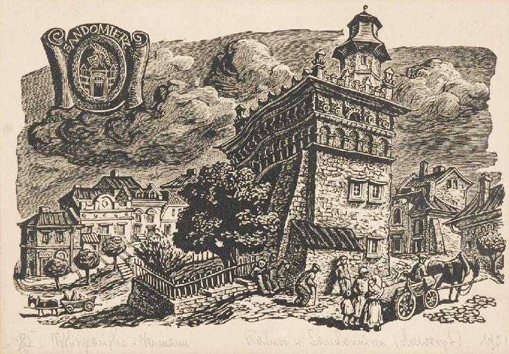 Maria HISZPAŃSKA-NEUMANN (1917-1980)  Sandomierz, 1951 drzeworyt, papier jasnobrązowy;