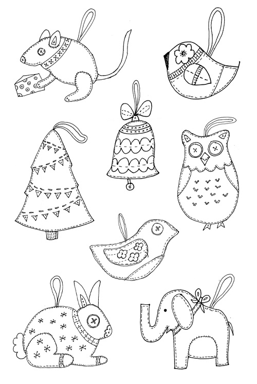 Felt Christmas ornament templates.