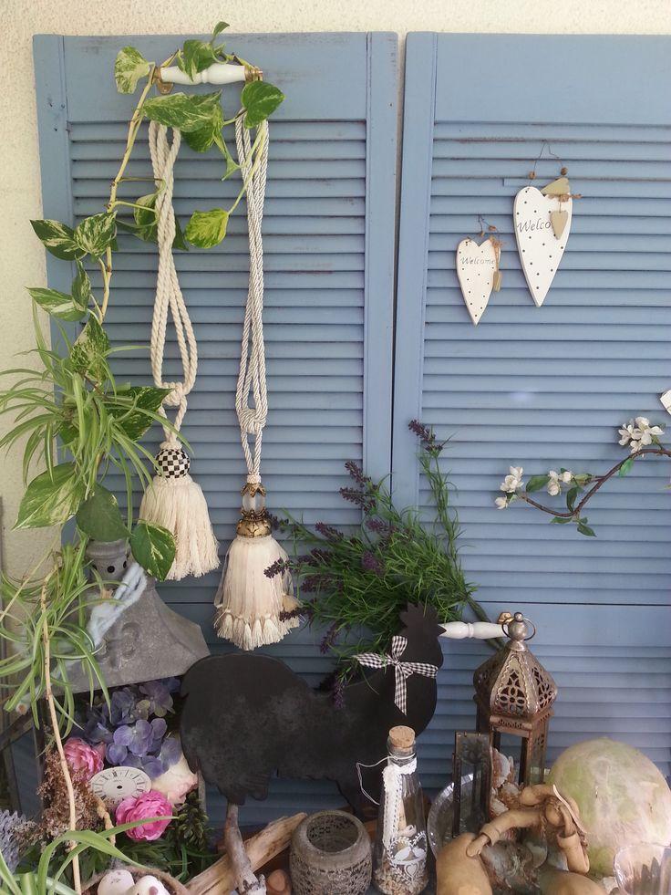 DIY vorher / nachher alte Lamellentüren auf provenzalischen Shabby Chic getrimmt..mit ASCP Greek Blue before / after old Shutter with ASCP Greek Blue Shabby Chic