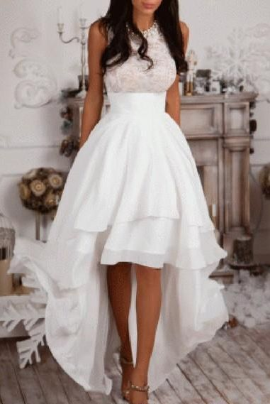 A-Line High Low Prom Dresses Ivory Chiffon Homecoming Dress Cheap Evening Dress on Luulla