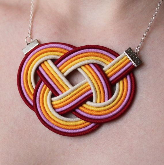 Handmade Knot Necklaces - 5 kinds - elegant and sporty, rope knotted jewelry, neon color, oragne, purple