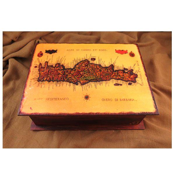 Κουτι με μεταφορα εικονας, γκραβουρα Κρητης, και παλαιωση με πατινες. Transfer, decoupage, box.