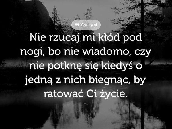 http://cytaty.pl/1116,nie-rzucaj-mi-klod-pod-nogi-bo-nie-wiadomo-czy.html