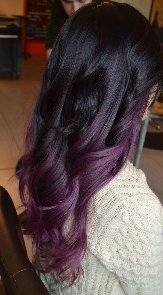 Purple Balayage Hair on Black Hair   Best Balayage Hair