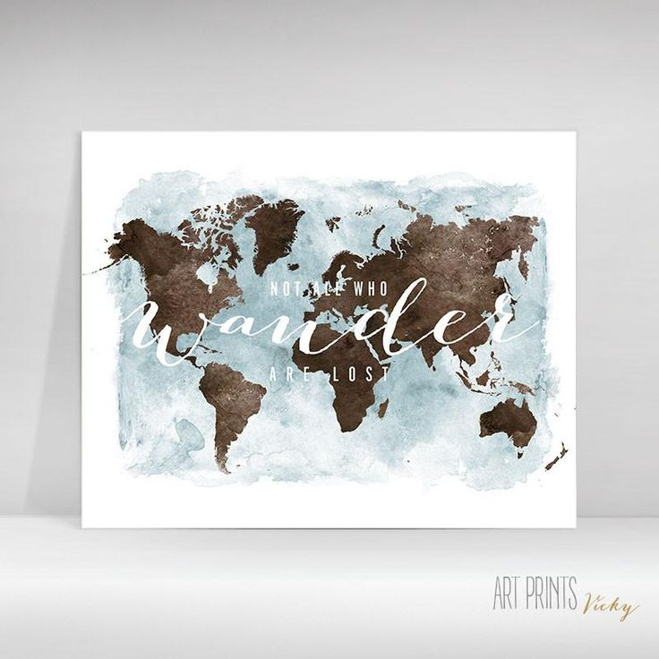 "World map watercolor poster ""wander"""