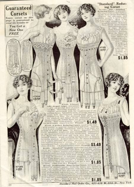 Here's a great ad for corsets from a 1912 catalog. Note the corset on the lower left for nursing moms. These are extremely rare and valuable now.