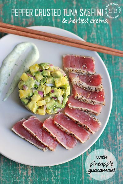 Quick and easy healthy meal of Pepper-Crusted Tuna Sashimi with Pineapple Gaucamole and Herbed Crema