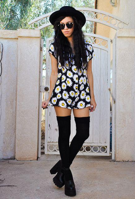 sunflower romper + black platform ankle boots + black thigh high socks