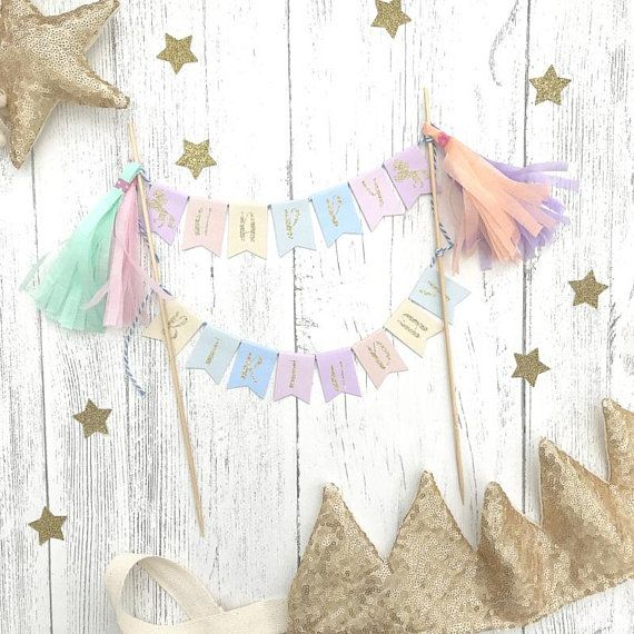 Unicorn Cake Topper Bunting Baby First Birthday Hen Christening Hen Party