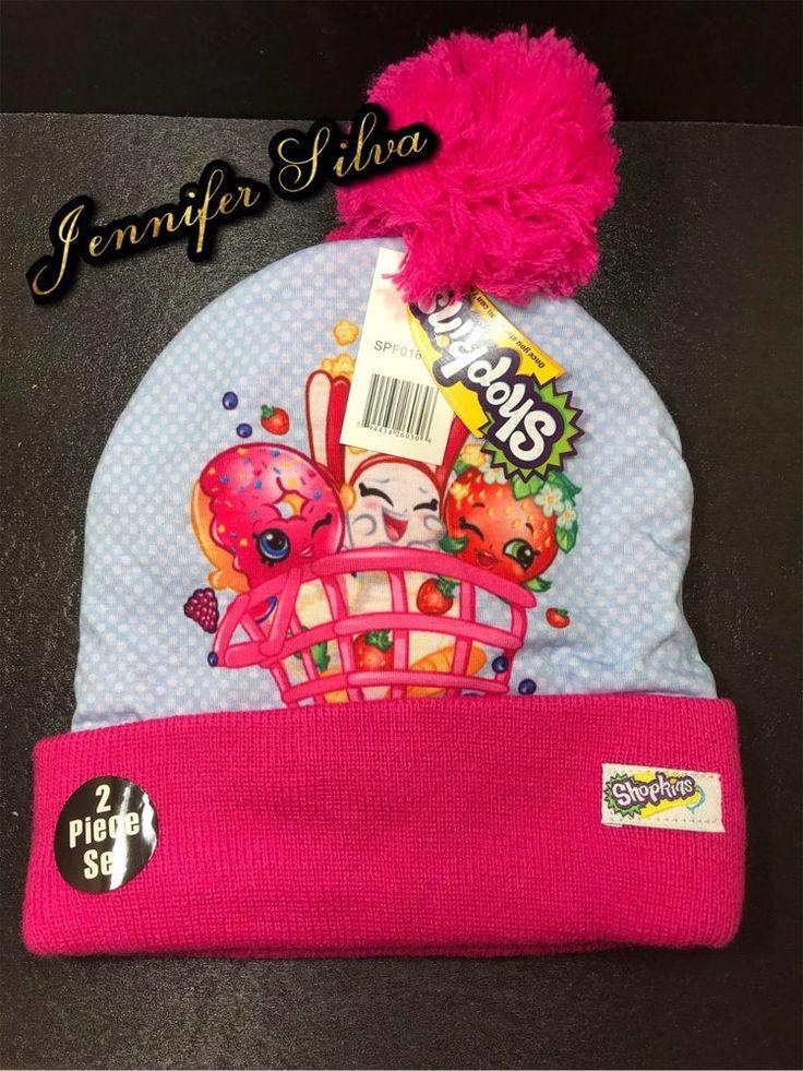 Shopkins Girls Beanie Hat Cap & Gloves Set #SHOPKINS #Beanie