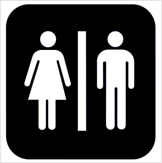 unisex bathroom sign toilet sticker vinyl decal wc