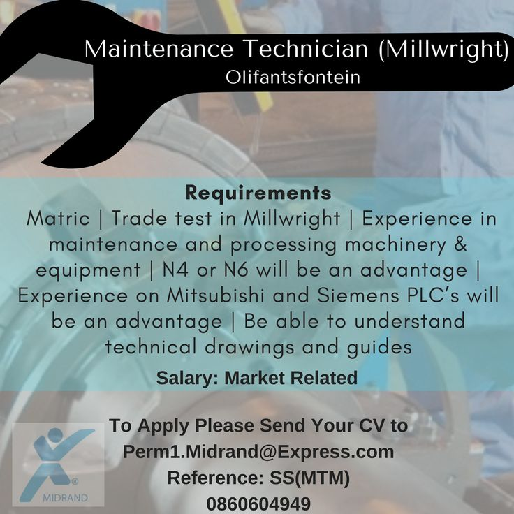 Maintenance Technician (Millwright)  Would you describe yourself as an analytical thinker and a problem-solver? Are you able to work under pressure?  One of the well-known FMCG brands has a vacancy for a Maintenance Technician. This person will be based in Clayville, Olifantsfontein.