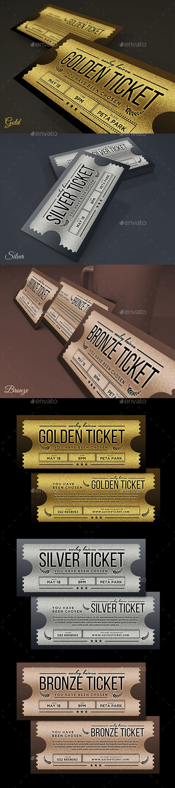 Golden / Silver Ticket Invitation  — PSD Template #company #9.25x4 • Download ➝ https://graphicriver.net/item/golden-silver-ticket-invitation/18200408?ref=pxcr