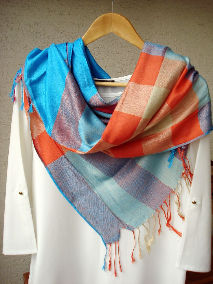 Multicolored Plaid Pashmina Scarf, Blue and orange, Rainbow Scarf, Silky scarf, Fall- Spring scarf, infinity scarf, Gypsy Wrap, gift for her by fourseasonsscarf on Etsy