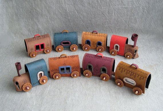 Leather Train Leather Toys Leather Home di MyWorldLeather su Etsy