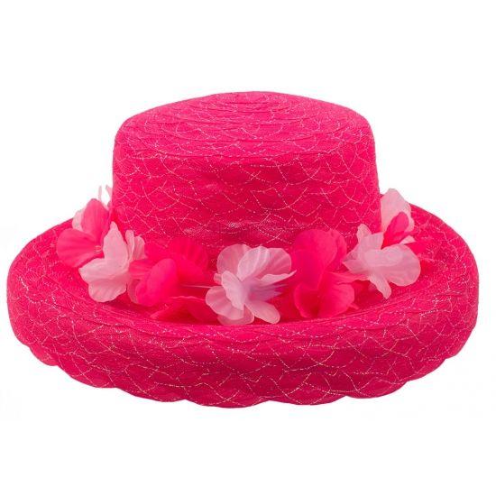 Roze hoed met bloemen. Een leuke neon roze organza hoed met Hawaii krans erom heen.