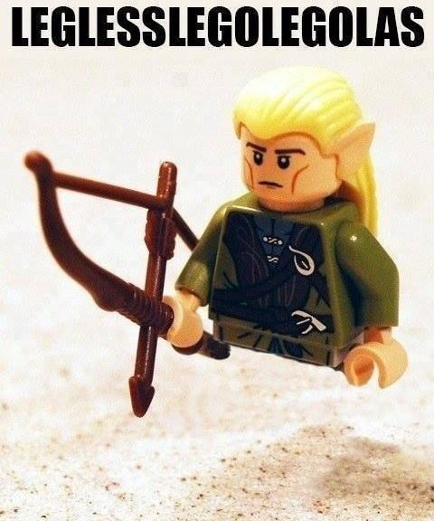 "legless lego legolas (a funny site commented ""don't give him a waffle""... get it? hahaha)"