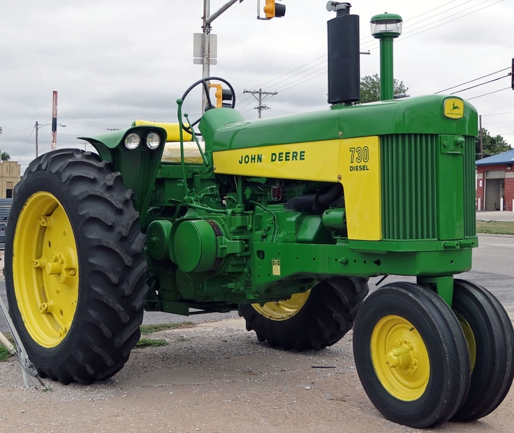 John Deere 730 Diesel. Still capable of earning it's keep on the farm today as a primary tractor. Great power and kind on fuel. Only the 4010/4020 Diesels were more perfect of a tractor, and they were designed to take the place of the 730 Diesel.
