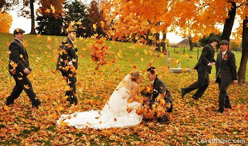 Autumn wedding wedding outdoors autumn leaves bride groom