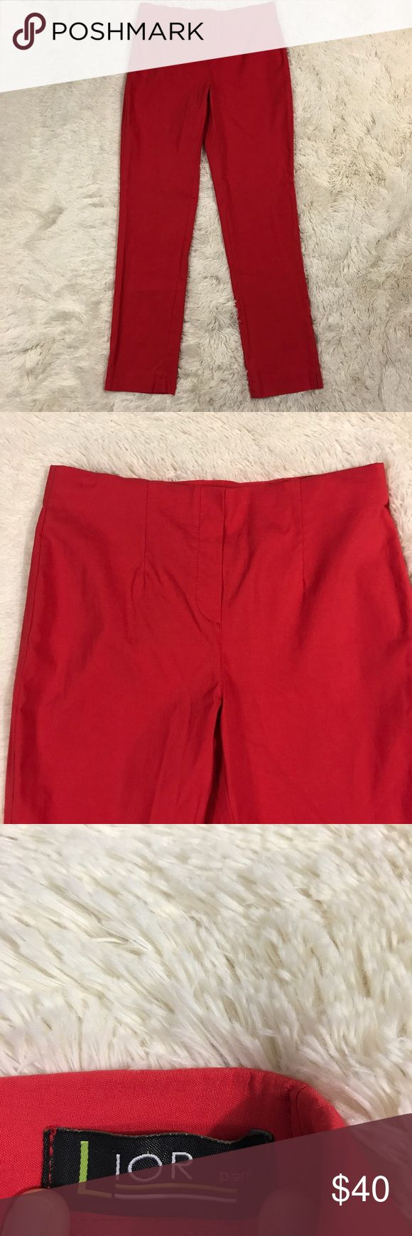 "🇺🇸SALE🇺🇸Lior Paris Lize Straight Leg Pants Women's size T3 (Euro sized - equals US 6/8) red Lion Paris Lize stretch straight leg, pull on, dress pants. 77% viscose, 20% polyamide, 3% elasthanne. Comes from a smoke free home! Missing the size tag but they measure the same as a T3 in this style.   Measurements:  Waist - 15 1/2"" (stretch waist) Length - 38 1/2"" Inseam - 29 1/2""  I have another pair of these in my store that are the same size. I would be happy to make a great deal if you…"