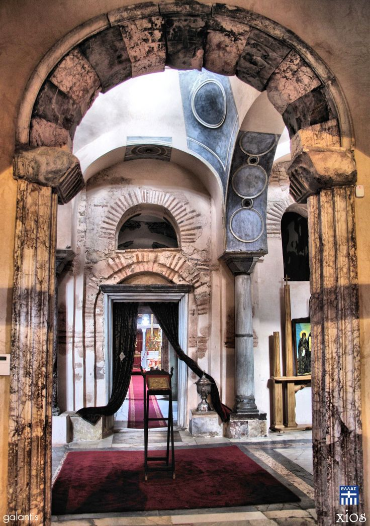 """Nea Moni.Chios island. Nea Moni (Greek: Νέα Μονή, lit. """"New Monastery"""") is an 11th-century monastery on the island of Chios that has been recognized as a UNESCO World Heritage Site. It is located on the Provateio Oros Mt. in the island's interior, about 15 km from Chios town. It is well known for its mosaics, which, together with those at Daphni and Hosios Loukas, are among the finest examples of """"Macedonian Renaissance"""" art in Greece."""