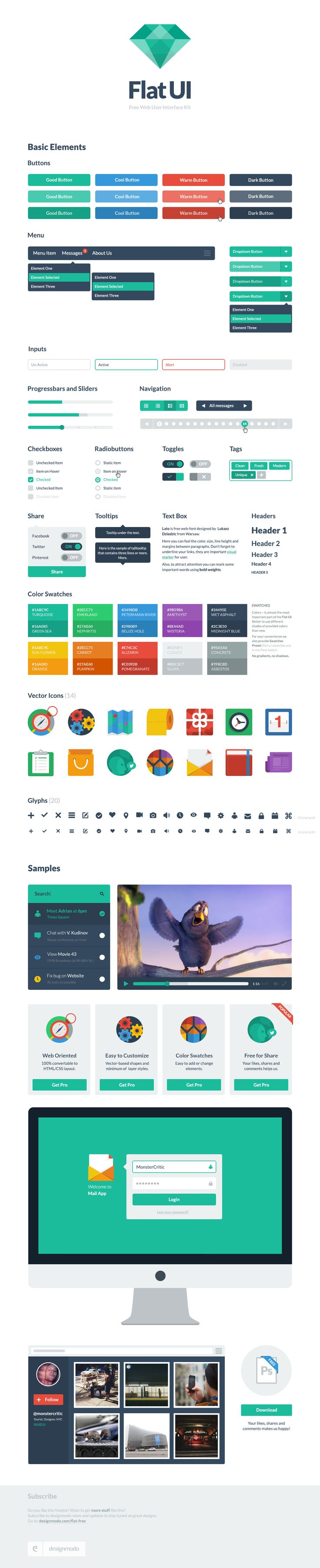 Flat UI Free – PSD User Interface Kit #webdesign #design #designer #inspiration #web #ui #userinterface #interface #user #download #free #downloads