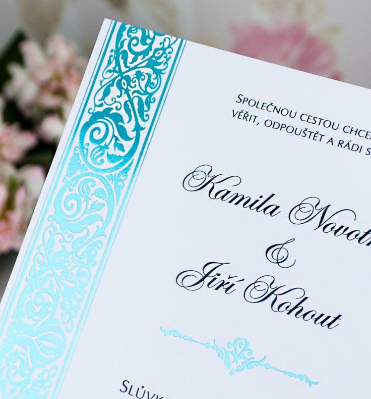 Nádherné svatební oznámení v antickém stylu v tyrkysové barvě!