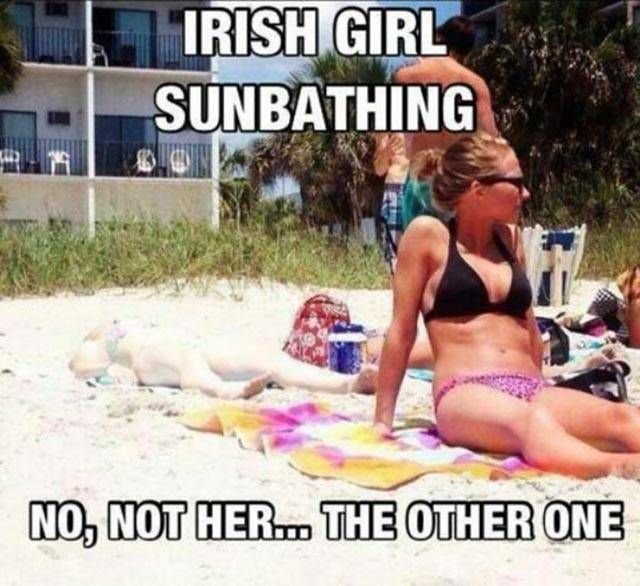 Irish girl sunbathing.