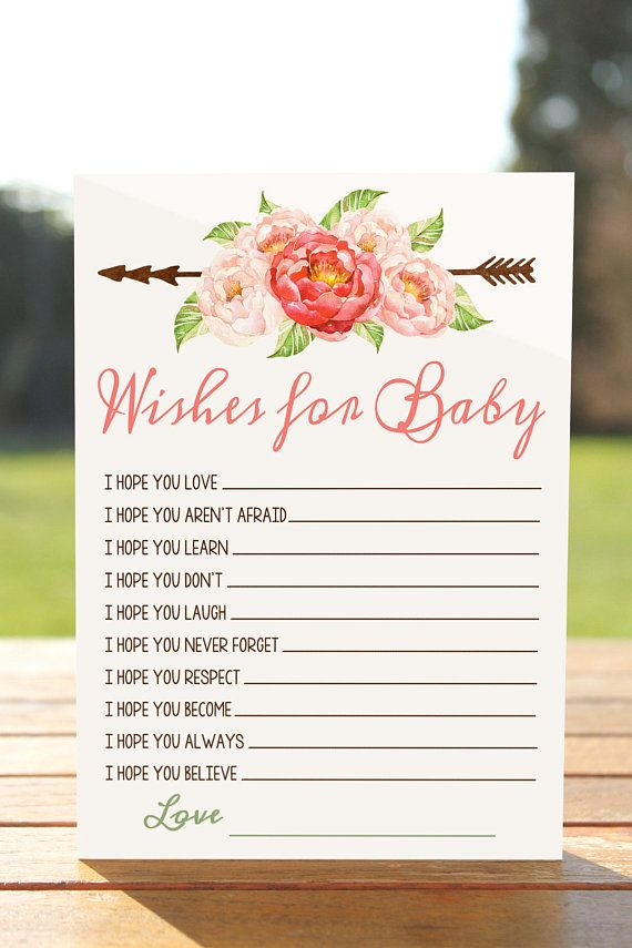 Boho wishes for baby, Wishes for baby printable, wishes for baby cards, Baby shower wishes, wishes f