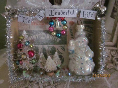 Vintage Inspired Christmas Shadow Box It's A Wonderful Life Snowman Bells Tinsel | eBay