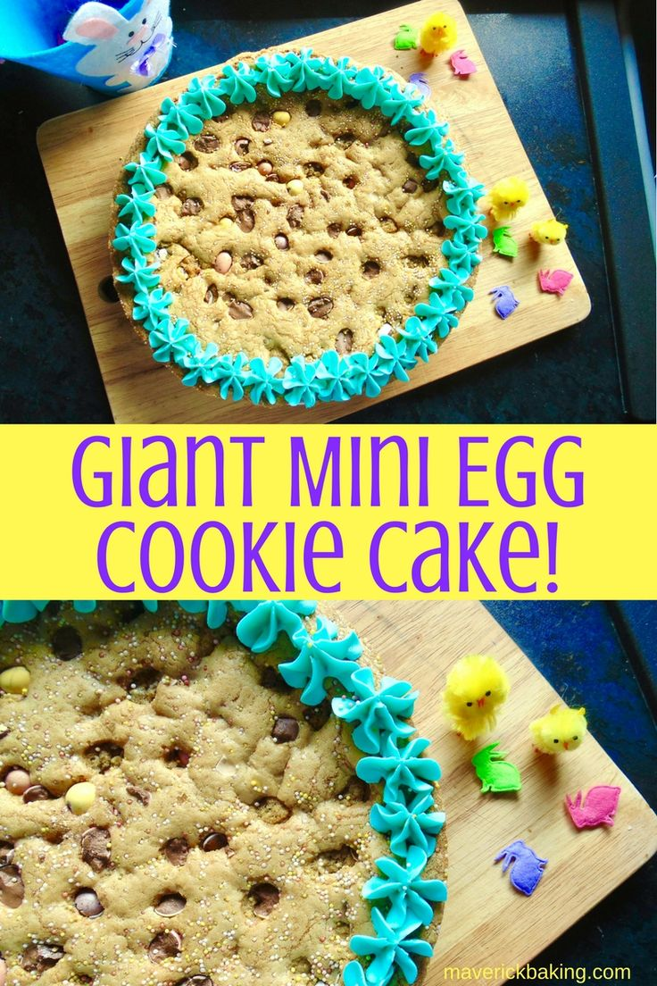 GIANT MINI EGG COOKIE CAKE! The ultimate Easter bake, a giant soft and chewy cookie (or skillet cookie) full of Cadbury's Mini Eggs!