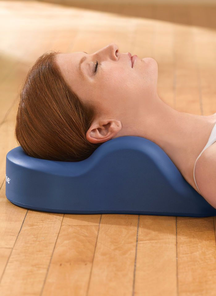 OMNI Cervical Relief Pillow™ at OMNI Cervical Relief Pillow™ is ergonomically designed for meditation, relaxation and relief from tension headaches, fibromyalgia, TMJ and neck pain. The contoured pillow gently cradles the base of your head and supports your neck in the proper cervical curvature to relieve tension in your head and neck muscles. http://www.FeelGoodSTORE.com.