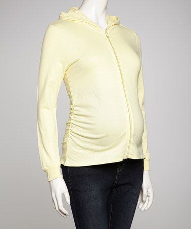 Look at this #zulilyfind! Yellow Maternity Zip-Up Hoodie - Women by Lilo Maternity #zulilyfinds
