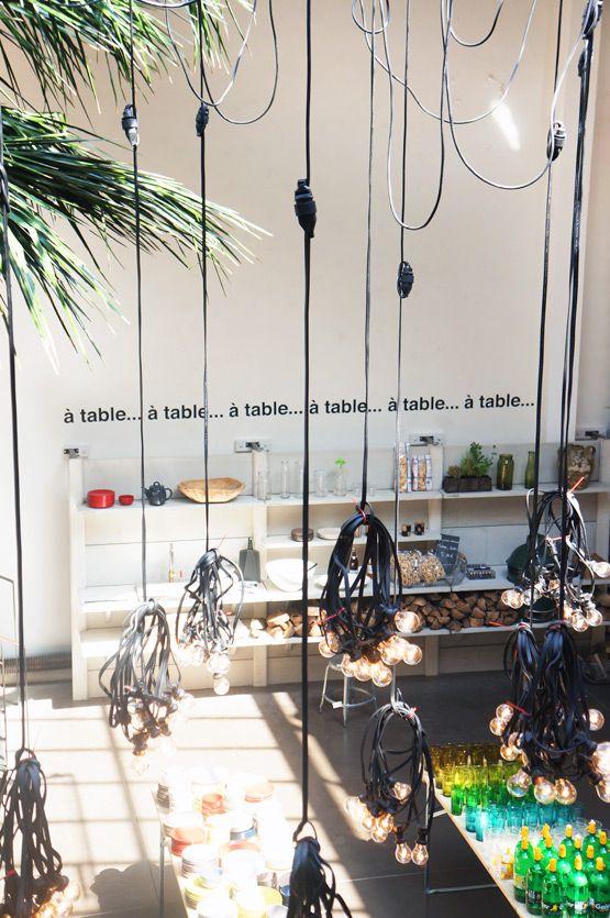 beautiful pendant lights, at concept store MERCI in Paris
