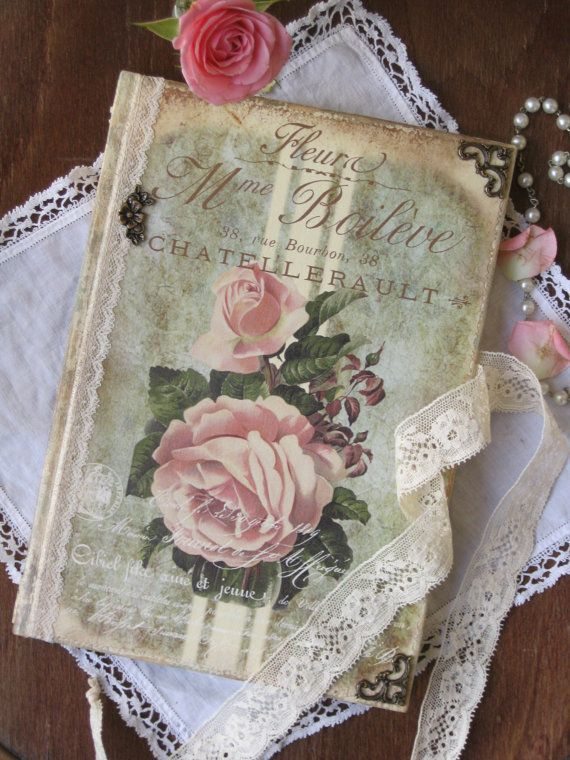 Vintage roses diary journal notebook shabby chic di ...