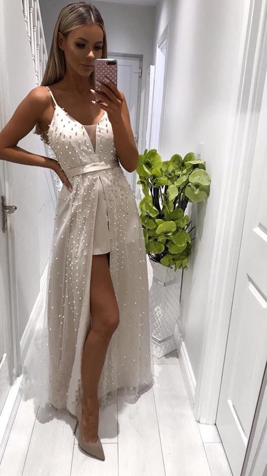da6d4f5eacb A-Line Spaghetti Straps Floor-Length White Prom Dress with Beading ...