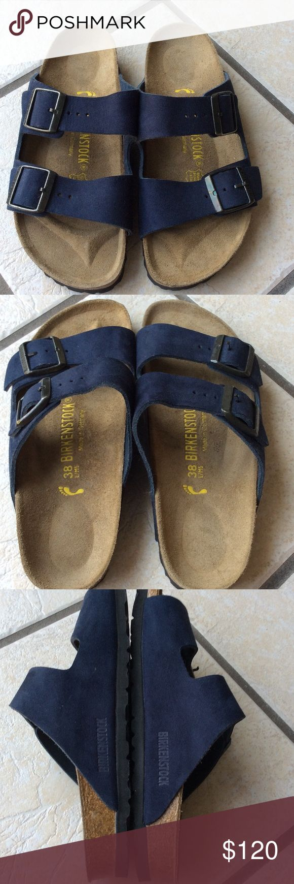 New Birkenstock Suede 2 Straps Navy Blue 38 New never worn , Nice color and style from Birkenstock, comfy and support feet. No flaws, no tear, no stain. Hard to find this color. Enjoy day with them.****NO TRADE****** Thanks Birkenstock Shoes Sandals