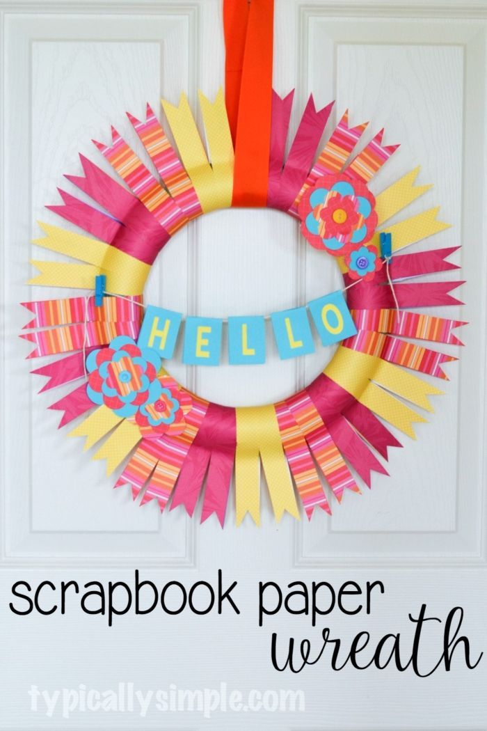 This scrapbook paper wreath is perfect for a Moms Night Out party craft project! With just a few supplies, create a fun, colorful wreath to hang in your home!