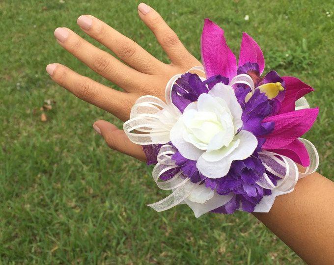Ramillete púrpura, ramillete de la muñeca violeta, púrpura Dama de honor, madre del ramillete de la novia, ramillete de damas de honor, damas de honor boda, ramillete de Prom