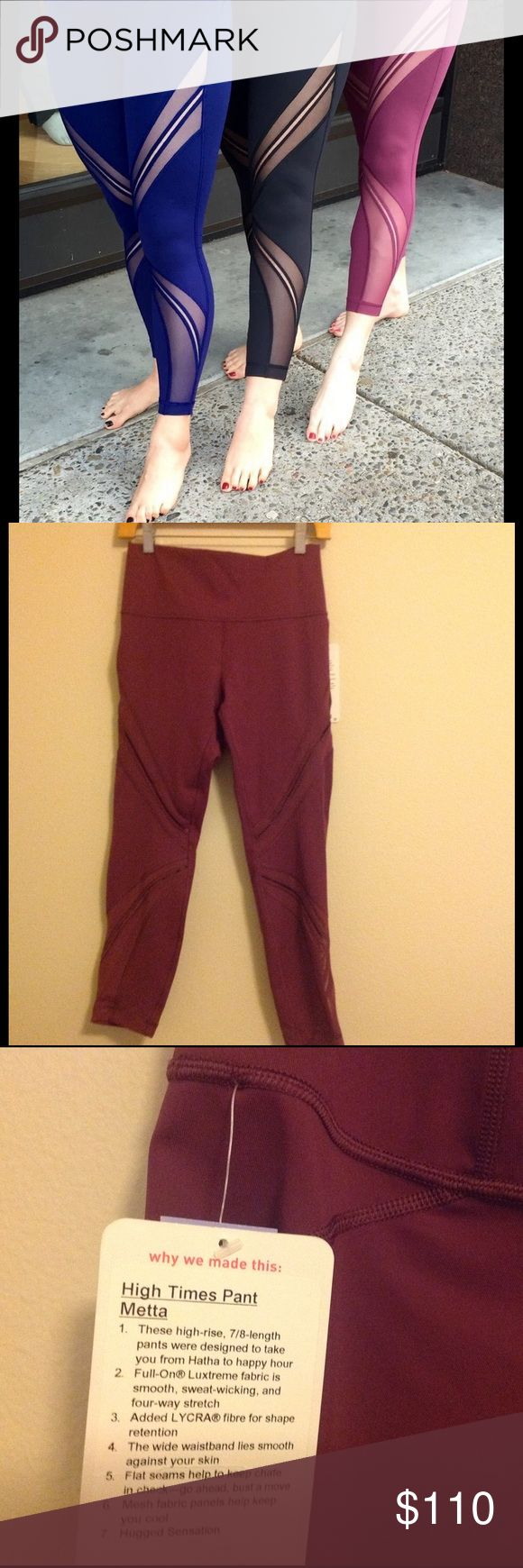 Lululemon High Times Pant Metta ➡️ New with Tags, color is red grape ➡️ Price is Firm ➡️ No Trades  ➡️ No rude comments ➡️ Please check out my other listings to bundle  ❤️ Thank you and happy shopping! lululemon athletica Pants Leggings
