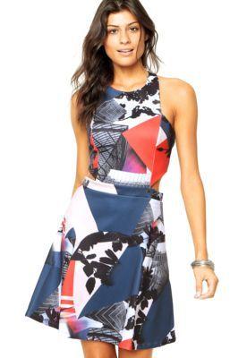 Vestido Carmim Alças Prene Print Multicolorido