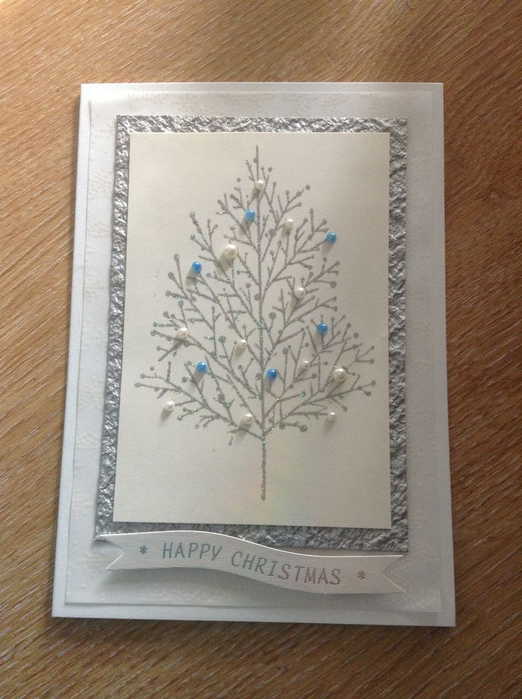 Beautiful Rubber Stamp Card Making Ideas Part - 9: Handmade Christmas Card Using A Tree Rubber Stamp, Embossing And Pearls