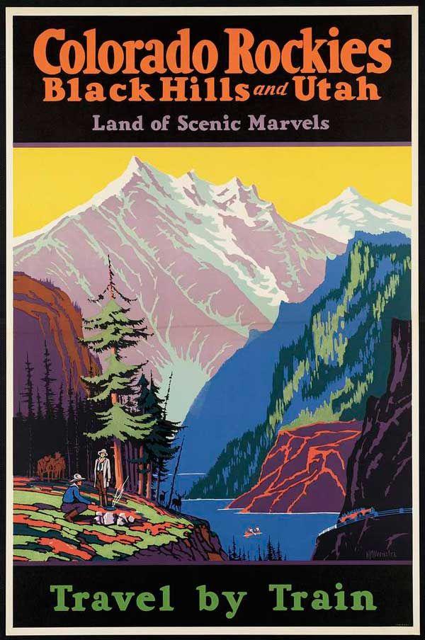 MIDORI: Poster - Vintage Train Travel Poster: Colorado Rockies, U.S.A.