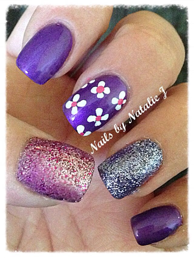 I see Purple! Gel polish over acrylic with two different glitters and hand painted flowers